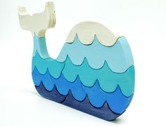 Blue Painted Whale Wood Puzzle with Waves by berkshirebowls. Lovely to go in child's room
