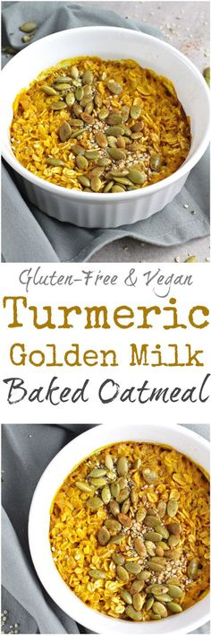 Golden Milk Baked Oatmeal - Turn that super healthy [and crazy delicious!] golden milk latte into breakfast with this Golden Milk Baked Oatmeal! With the same incredible flavors, this oatmeal is gluten-free, dairy-free, refined sugar free and vegan