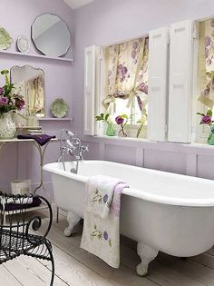 Painted wood paneling -Lilac Bathroom I love the tranquil feel of this room!