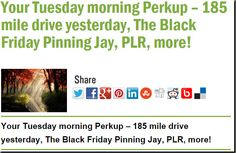 Your Tuesday morning Perkup – 185 mile drive yesterday, The Black Friday Pinning Jay, PLR, more!