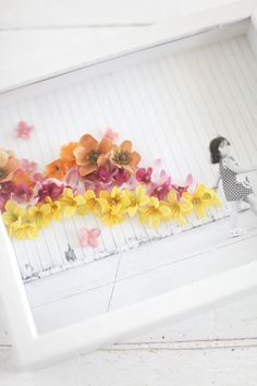 Turn a simple photo into a work of art with artificial flowers and hot glue. via ABM