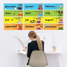 Superhjälparna | Alla månader SV & ENG PDF Pre School, Back To School, Waldorf Preschool, Oxford English, Baby Barn, Juni, Colorful Pictures, Elementary Schools, Kindergarten