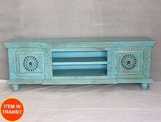 Floral Carved Jali Turquoise Blue Indian Plasma TV Stand Entertainment Unit 1 5M   eBay