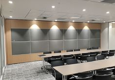 Tshwane House Variflex® mobile acoustic partitions... -Permits flexible room layouts  -Subdivides meeting venues or conference facilities  -Allows complete privacy in rooms  -No floor track – only an overhead track  -Elements are parked neatly to one side or into a niche