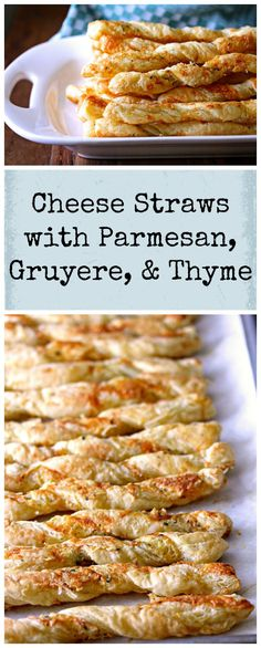 These Cheese Straws with Parmesan, Gruyere, and Thyme are a wonderful appetizer, and so easy to make with frozen puff pastry. (desserts to make puff pastries) Puff Pastry Appetizers, Savory Pastry, Puff Pastry Recipes, Finger Food Appetizers, Easy Appetizer Recipes, Appetizers For Party, Puff Pastries, Cheese Pastry, Finger Foods