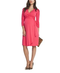 Take a look at this Pink Rose Wrap Dress by Isabella Oliver on #zulily today! -CUUUUUTE, looks comfy, good price!