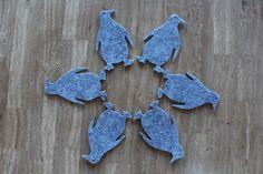 Funny Grey Felt Coaster Penguin Shape Set of 6 by FeelMyCraft on Etsy