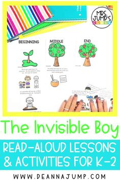 """Looking for some fun kindergarten reading comprehension activities you can do with the read aloud """"The Invisible Boy""""? With these kindergarten read aloud activities, students can practice early reading comprehension skills like retelling, making connections and more!"""
