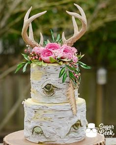 Rustic Boho Birch Cake. Trending for 2017 weddings. Edible antlers, realistic birch tree tiers, and gorgeous sugar flowers.