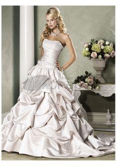 Wedding Dresses 2014-Satin beaded a-line strapless wedding dresses 2012