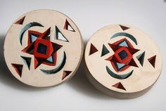 """South Africa   Earplugs """"amashaza"""" from the Zulu people of Tugela Ferry, South Africa.   Wood and paint   ca. 1930/40s"""