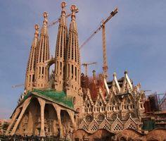 Sagrada Familia, Antoni Gaudí's unfinished cathedral in Barcelona Spain.