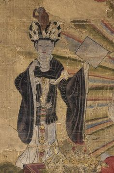 Mercury in Tejaprabha Buddha and the Five Planets, ink and colours on silk  From Cave 17, Mogao, near Dunhuang, Gansu province, China Tang dynasty, dated 4th year of Qianning (AD 897)  The planet Mercury associated with information, represented in human form as a female scribe with brush and paper and her animal attribute in her headdress.