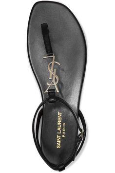 db2fa9ac2b36 Saint Laurent Black New Nu Pieds 05 Ysl Logo Flat Sandals Size US 8 Regular  (M