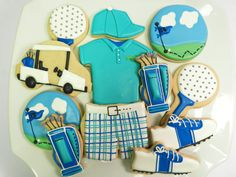 Flour Box Bakery — Blue Golf Cookies. these are hand rolled & decorated by a Penn State grad. Her bakery is in her garage, in Bellefonte.  She did some custom cookies for Jim Parsons, of 'The Big Bang Theory'.