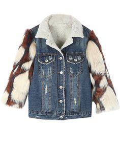 #chicnova Furry Sleeves Splicing Denim Coat