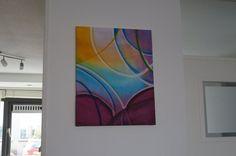 Origineel acryl schilderij. Gemaakt op katoendoek. Kleurrijk abstract lijnwerk. Ronde vormen. Gemaakt door Mandy Meijer