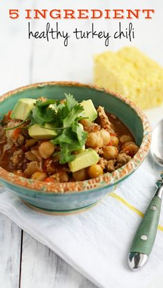 A hearty, healthy, and spicy turkey chili that comes together in just 30 minutes with just FIVE ingredients! Perfect for busy weeknights.