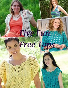 Five Fun Free Crochet Top Patterns...I like all these pretty tops,and the patterns are all free on Ravelry!