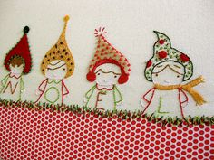 Christmas embroidery mounted oncanvas | Sewn Up by TeresaDownUnder