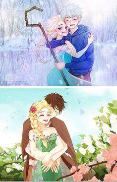 Imagem de jelsa, jack frost, and elsa. Couple Disney, Disney Couples, Arte Disney, Disney Fan Art, Princess Art, Princess Luna, Jelsa, Disney And More, Disney Love