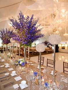 New Wedding Flower Ideas from A to Z - Wedding Flowers - TheKnot.com    D is For Delphiniums in a high vase