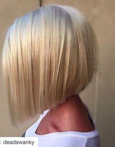 21 Eye-catching A-line Bob Hairstyles: #1. Platinum short A-line bob