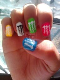 Nail Art :) by PinkyyPromise on DeviantArt Monster Energy Nails, Monster Nails, Funky Nails, Cute Nails, Pretty Nails, Crazy Nail Designs, Nail Art Designs, Hair And Nails, My Nails