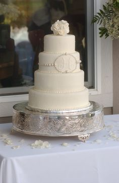 Pearl Monogram Wedding Cake