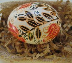 Red Flowers on white chicken egg- Batik style work