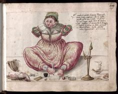 Jenisch album f.228r. A handless French woman he saw in Venice writing with her foot