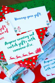 Love this fun twist on traditional gift exchange games! Free printable cards to use for swapping gift exchange gifts and some even some fun gift ideas if you need some ideas. put notes in santa hat and pass hat around