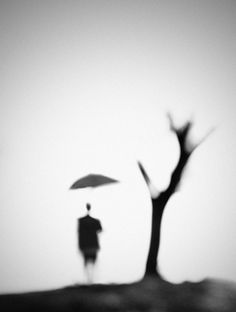 This photo is interesting because there is no background, just the tree, the person and the umbrella which looks like it is floating because the stick is out of focus and cannot be seen.