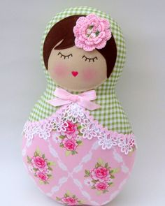Image of babushka doll - green/pink