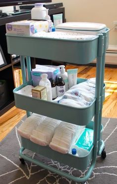 Having had a baby, this cart is genius and I love the idea. I feel like I have 1000 places for changing diapers in the home, so this keeps everything together and let's you roll it along. New Mama Newborn Tips, Hacks, and Tricks on Frugal Coupon Living.