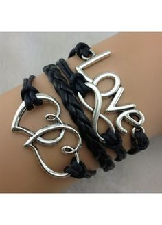 Heart and Love Decorated Braided Bracelet on sale only US$5.45 now, buy cheap Heart and Love Decorated Braided Bracelet at lulugal.com