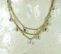 Multistrand crystal necklace