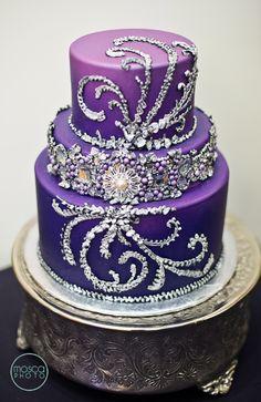 I love the purple! Beautiful Wedding Cakes, Gorgeous Cakes, Pretty Cakes, Amazing Cakes, Crazy Cakes, Fancy Cakes, Cupcakes, Cupcake Cakes, Bling Wedding Cakes