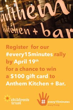 On Wednesday, April 26, we are coming together to stand up and send a clear message that child abuse must be stopped, as part of our #every15minutes campaign for #ChildAbusePreventionMonth. Register now at every15.eventbrite.com!