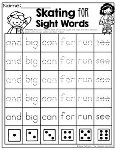 Roll and READ a SIGHT WORD! So many fun and engaging activities! Kindergarten Language Arts, Kindergarten Literacy, Early Literacy, Cvc Words, Sight Words, Word Family Activities, Reading Activities, Winter Activities, Family Games