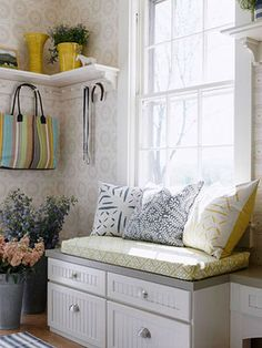 ***Cheerful mudroom ... LOVE the coat rack with shelf on top for plants, etc.