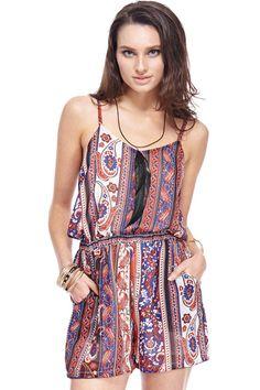 Gypsy Travel Pack Your Bags| Serafini Amelia| Shop ROMWE | ROMWE Boho Paisley Pattern Romper, The Latest Street Fashion