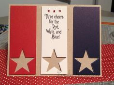 ~ Attempted Creativity ~ Three Cheers (A Muse Studio) Happy Birthday America, Happy Birthday Cards, Homemade Greeting Cards, Homemade Cards, Veterans Poems, Independence Day Card, Scrapbook Cards, Scrapbooking, Military Cards