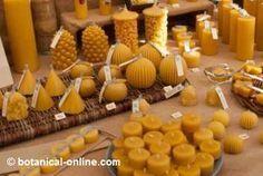 Expositor de velas con cera de abeja natural y ecologica