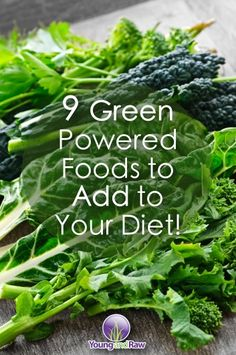 Click this picture to see the list of 9 Green Powered Foods to Add to Your Diet!  1. Alfalfa: is a member of the pea family mostly grown as cattle forage. Nutritional properties: Alfalfa contains protein, chlorophyll, iron, potassium, magnesium and phosphorus, along with number of vitamins; long used as a blood purifier and anti-ulcer remedy; acts as a mild laxative and diuretic.  Website: http://www.youngandraw.com Facebook: http://www.facebook.com/youngandraw