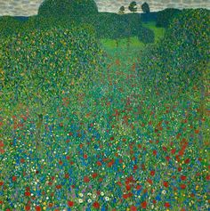 Field of Poppies, 1907.  A tightly packed foreground, with red intensity, to emphasize the panoramic horizon. A lofty view looking down on this luscious, fecund scene with its poppy explosion and fruit-laden trees. This, for Klimt, is his Garden of Eden, a world where he meets the divine through art. Again the work is reminiscent Impressionism of Van Gogh and that of Camille Pissarro. The myriad of greens to create an overall tonal, yet decorative, armature.