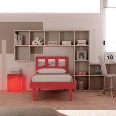 """#Arredamento #Cameretta Moretti Compact: Collezione 2012 """"Team"""" > Kids >> kc14 #letto #mensole http://www.moretticompact.it/kids.htm"""
