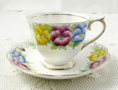 Vintage Royal Albert Tea Cup and Saucer, Bone China, Hand Painted Flowers