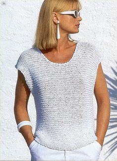 62 Ideas knitting patterns pullover summer tops for 2019 Sweater Knitting Patterns, Knitting Designs, Knitting Stitches, Knit Patterns, Free Knitting, Knitting Projects, Crochet Summer Tops, Summer Knitting, Crochet Shirt