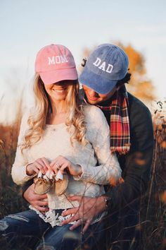Mom & Dad Unstructured Dad Hat Gift or Baby Announcement